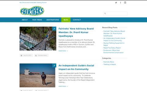 Screenshot of Blog fairtreks.org - Our Blog - Fairtreks - captured Sept. 30, 2014