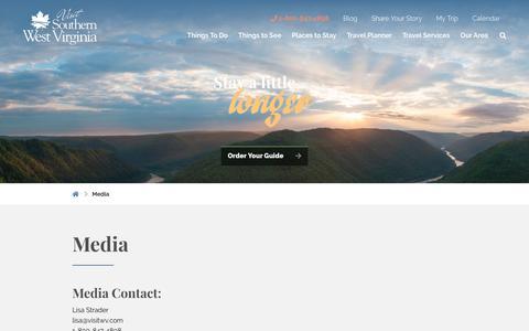 Screenshot of Press Page visitwv.com - West Virginia Travel and Tourism Media Kit : Visit Southern West Virginia - captured Dec. 16, 2018
