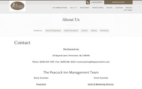 Screenshot of About Page peacockinn.com - Contact - The Peacock Inn Princeton NJ - Princeton - United States - captured Sept. 27, 2016
