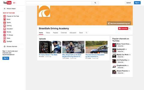 Screenshot of YouTube Page youtube.com - StreetSafe Driving Academy  - YouTube - captured Nov. 5, 2014