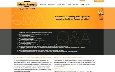 Screenshot of FAQ Page streetcorner.com - FAQs - Street Corner Franchise ™Street Corner Franchise ™ - captured Dec. 16, 2016