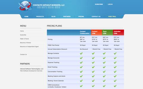 Screenshot of Pricing Page contactswithoutborders.com - Contacts Without Borders - Pricing Plans - captured Dec. 12, 2015
