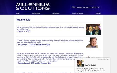 Screenshot of Testimonials Page millenniumsolutions.com - Millennium Solutions | TESTIMONIALS - captured Dec. 6, 2016