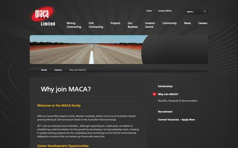 Screenshot of Jobs Page maca.net.au - Why Join MACA? - MACA Limited - captured Oct. 3, 2014
