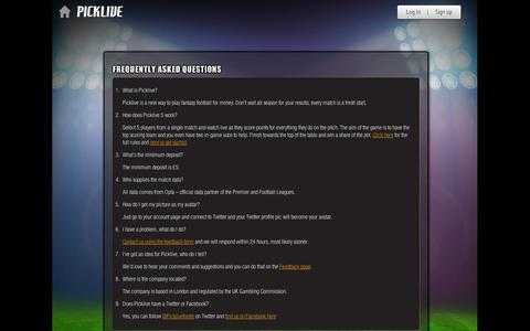 Screenshot of FAQ Page picklive.com - Picklive - Frequently asked questions - captured Sept. 11, 2014