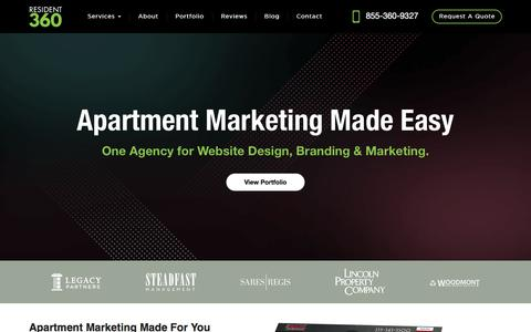 Screenshot of Home Page resident360.com - Apartment Website Design & Marketing > We Make It Easy > Resident360 - captured Sept. 20, 2018