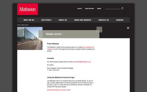 Screenshot of Press Page matheson.com - Media centre - captured Oct. 27, 2014