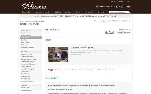 Screenshot of Press Page adiamor.com - In The Media | Adiamor - captured Sept. 19, 2014