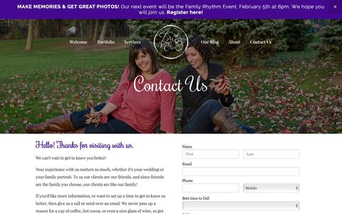 Screenshot of Contact Page lorianderin.com - Contact Us — Lori and Erin Photography - captured Feb. 1, 2016