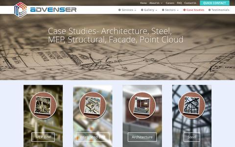 Screenshot of Case Studies Page advenser.com - BIM Case Study- Architectural, Structural, MEP, Facade, Point cloud - captured Aug. 31, 2016