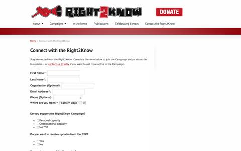 Screenshot of Signup Page r2k.org.za - Connect with the Right2Know | Right2Know Campaign - captured Oct. 22, 2017
