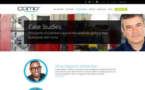 Screenshot of Case Studies Page como.com - Case Studies – Como Mobile Apps Examples - captured Sept. 18, 2014
