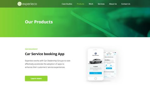 Screenshot of Products Page experieco.com - Experieco | Products - captured Sept. 25, 2018