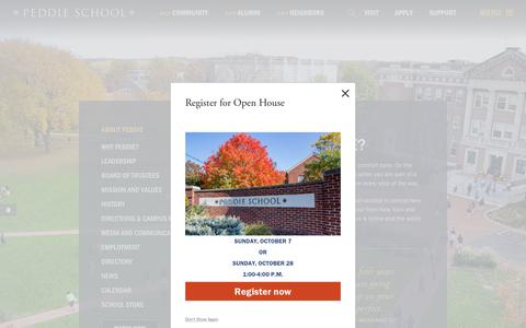 Screenshot of About Page peddie.org - About Peddie - Peddie School   Private Boarding & Day School in NJ - captured Sept. 27, 2018