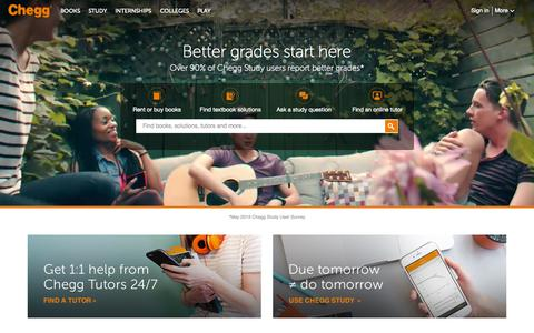 Screenshot of Home Page chegg.com - Chegg - Save up to 90% on Textbooks | #1 in Textbook Rental! - captured Oct. 1, 2015