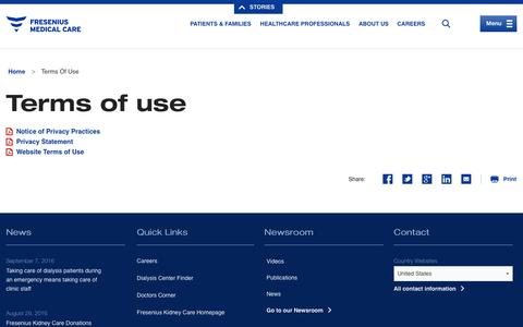 Screenshot of Terms Page fmcna.com - Terms of use | Fresenius Medical Care - captured Oct. 25, 2016