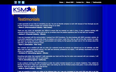 Screenshot of Testimonials Page ksmpromotions.com - KSM Promotions : Promotional Products, Promotional Items, Live Personal Service - captured Oct. 6, 2014