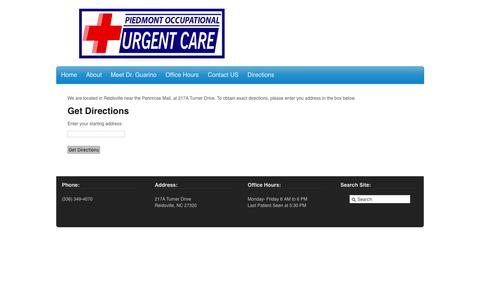 Screenshot of Maps & Directions Page reidsville-urgent-care.com - Reidsville Urgent Care - directions - Reidsville Urgent Care - captured Nov. 5, 2016
