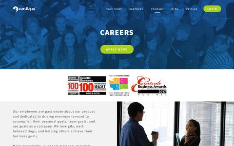 Screenshot of Jobs Page cardtapp.com - Careers - Referrals and connections made simple - CardTapp - captured July 16, 2018