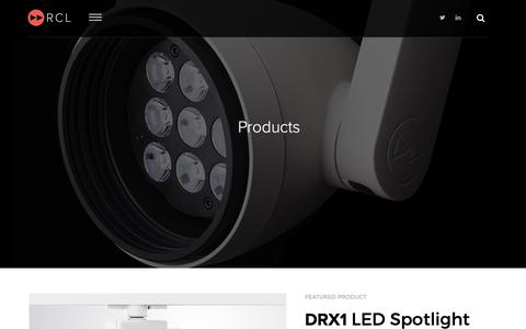 Screenshot of Products Page rclighting.com - Products - captured Oct. 18, 2018