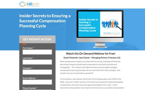 Screenshot of Landing Page hrsoft.com - Insider Secrets to Ensuring a Successful Compensation Planning Cycle - captured Sept. 6, 2016