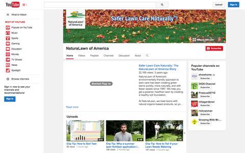 Screenshot of YouTube Page youtube.com - NaturaLawn of America  - YouTube - captured Nov. 3, 2014
