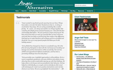 Screenshot of Testimonials Page anger.org - Anger Alternatives: Testimonials - captured Oct. 8, 2017