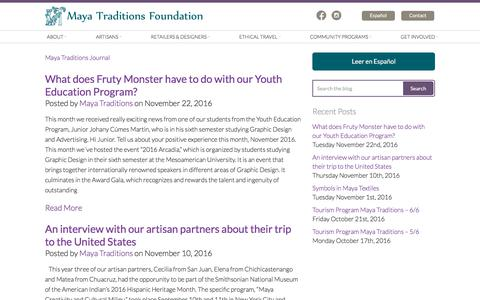 Screenshot of Blog mayatraditions.org - What does Fruty Monster have to do with our Youth Education Program? - Maya Traditions - captured Jan. 18, 2018
