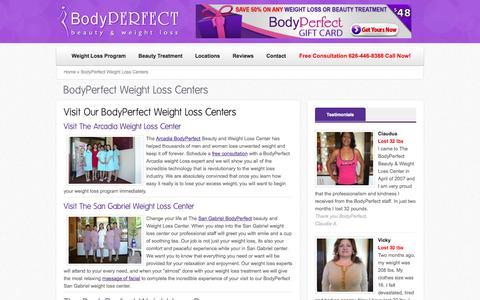 Screenshot of Locations Page bodyperfectbeauty.com - BodyPerfect Weight Loss Centers | Weight Loss Arcadia | Weight Loss San Gabriel | BodyPerfectBeauty.com - captured Sept. 30, 2014