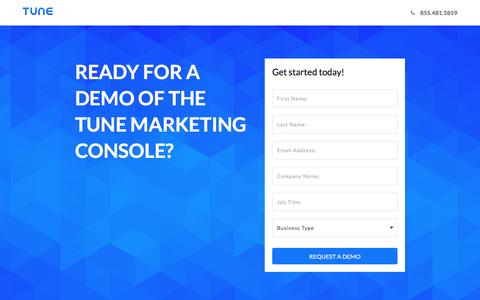 Screenshot of Landing Page tune.com - Request a demo of the TUNE Marketing Console - captured Dec. 10, 2016