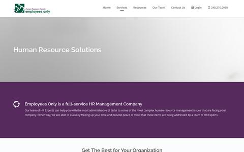 Screenshot of Services Page employeesonly.net - Human Resource Outsourcing Solutions | Employees Only - captured Jan. 28, 2016