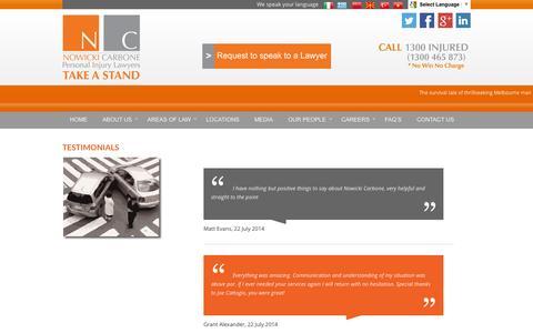 Screenshot of Testimonials Page nowickicarbone.com.au - Nowicki Carbone testimonials | Nowicki Carbone - captured Sept. 30, 2014