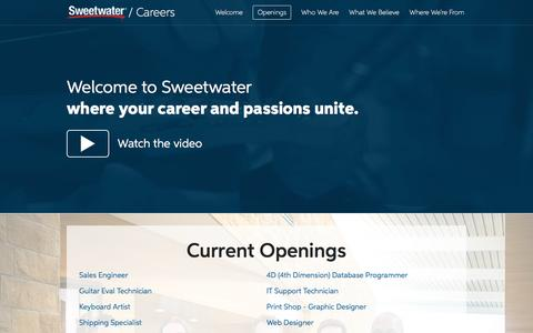 Screenshot of Jobs Page sweetwater.com - Sweetwater Careers - captured March 30, 2017