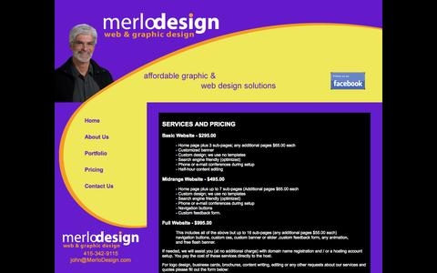 Screenshot of Pricing Page merlodesign.com - MerloDesign Home | Pricing - captured Oct. 27, 2014