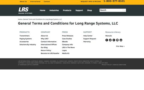 Screenshot of Terms Page pager.net - General Terms and Conditions for Long Range Systems, LLC | Pager.net - captured Sept. 25, 2018