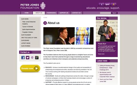 Screenshot of About Page peterjonesfoundation.org - About us | Peter Jones Foundation - captured Sept. 29, 2014