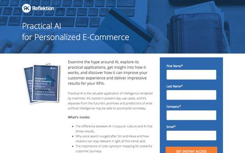 Screenshot of Landing Page reflektion.com - Practical AI for E-Commerce: How Artificial Intelligence Can Dramatically Improve E-Commerce Customer Experiences - captured Feb. 22, 2018