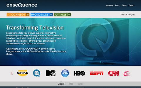 Screenshot of Home Page ensequence.com - Home - Ensequence - captured Sept. 16, 2014