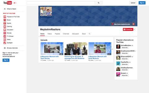 Screenshot of YouTube Page youtube.com - MeybohmRealtors  - YouTube - captured Oct. 27, 2014