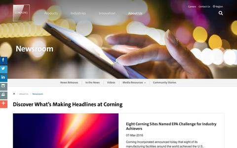 Screenshot of Press Page corning.com - Newsroom | About Us | Corning.com - captured March 29, 2016