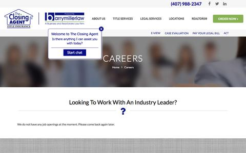 Screenshot of Jobs Page theclosingagent.com - CAREERS   THE CLOSING AGENT   ORLANDO TITLE COMPANY - captured Aug. 21, 2019