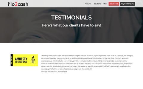 Screenshot of Testimonials Page flo2cash.com - Testimonials Recurring Payments Solutions   Flo2Cash - captured Dec. 5, 2016