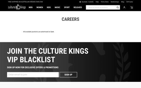 Screenshot of Jobs Page culturekings.com.au - Careers - Culture Kings - captured Sept. 22, 2018