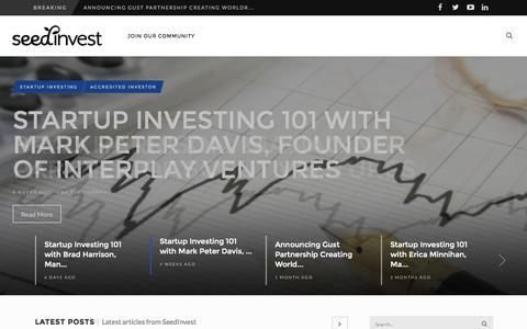 Screenshot of Blog seedinvest.com - SeedInvest Blog - Startup Investing and Equity Crowdfunding - captured Oct. 28, 2014