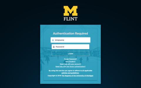 Screenshot of Login Page umflint.edu - Weblogin   University of Michigan-Flint - captured Feb. 16, 2019