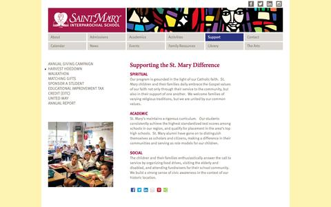 Screenshot of Support Page saintmarys.us - Supporting the St. Mary Difference | St Mary Interparochial School - captured Dec. 2, 2016