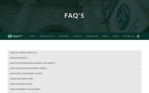 Screenshot of FAQ Page cvi.net.au - FAQ's - Central Victorian Investments - Central Victorian Investments - captured Sept. 26, 2018