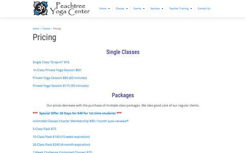 Screenshot of Pricing Page peachtreeyoga.com - Pricing - Peachtree Yoga CenterPeachtree Yoga Center - captured Dec. 14, 2018