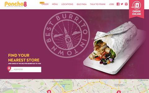 Screenshot of Home Page poncho8.com - Best Burritos in London   Burrito London   Poncho 8 - captured Jan. 28, 2015
