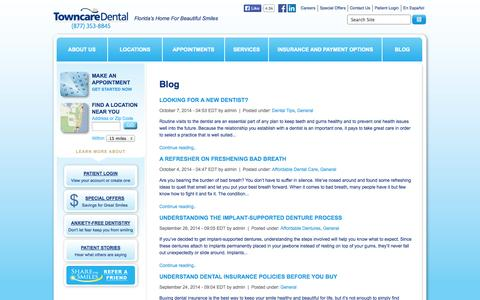 Screenshot of Blog towncaredental.com - Dental News | Towncare Dental - captured Oct. 7, 2014
